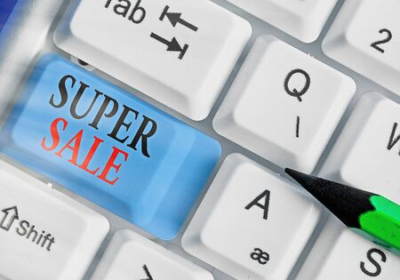 Conceptual hand writing showing Super Sale. Concept meaning offering exceptional discounts on selected products and services