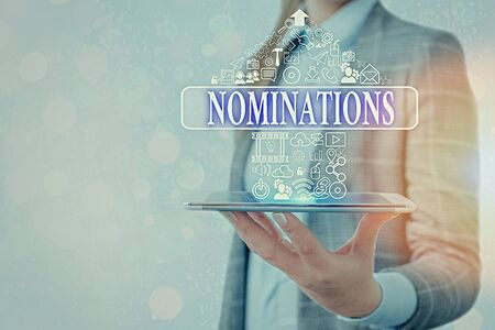 Conceptual hand writing showing Nominations. Concept meaning the act of officially suggesting someone for a job or position
