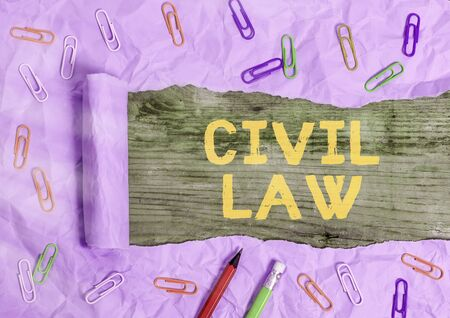 Conceptual hand writing showing Civil Law. Concept meaning Law concerned with private relations between members of community Imagens