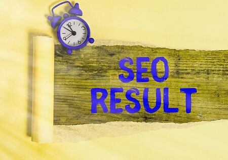 Conceptual hand writing showing Seo Result. Concept meaning the list created by search engines in response to a query