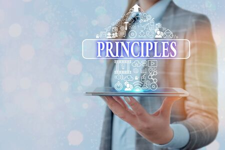 Conceptual hand writing showing Principles. Concept meaning fundamental truth that serves as the base for a system of belief Stock Photo