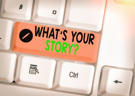 Writing note showing What S Your Story Question. Business concept for asking demonstrating about his past life actions career or events Stock fotó