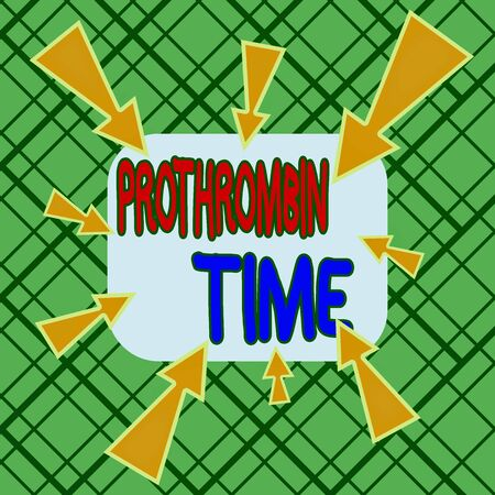Conceptual hand writing showing Prothrombin Time. Concept meaning evaluate your ability to appropriately form blood clots Asymmetrical uneven shaped pattern object multicolour design