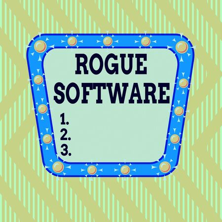 Writing note showing Rogue Software. Business concept for type of malware that poses as antimalware software Asymmetrical uneven shaped pattern object multicolour design Standard-Bild