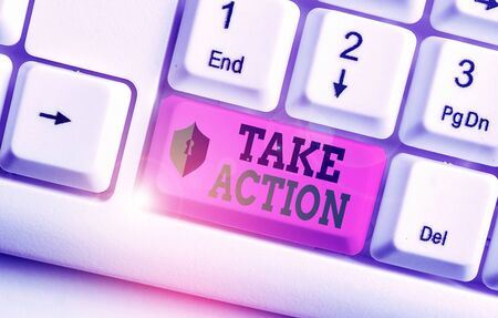Text sign showing Take Action. Business photo showcasing to do something To act in order to get a particular result Stock Photo