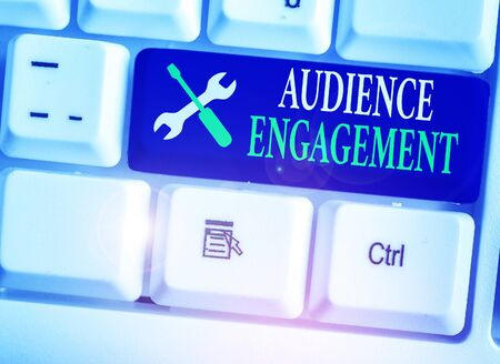 Conceptual hand writing showing Audience Engagement. Concept meaning active involvement of an audience in a live broadcast
