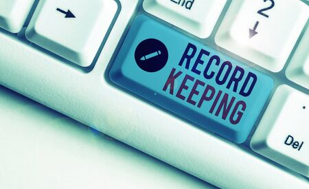 Word writing text Record Keeping. Business photo showcasing The activity or occupation of keeping records or accounts