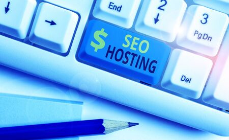 Text sign showing Seo Hosting. Business photo text building website in a way that is friendly for search engines