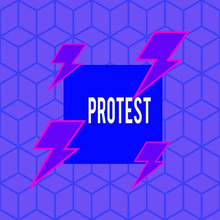 Writing note showing Protest. Business concept for An action expressing disapproval of or objection to something Asymmetrical format pattern object outline multicolor design