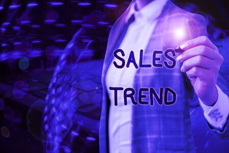 Writing note showing Sales Trend. Business concept for Composite data of a company s is annual sales and employment