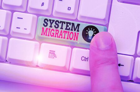 Word writing text System Migration. Business photo showcasing moving from the use of one operating environment to another