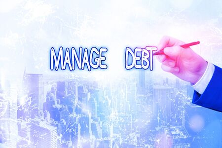 Conceptual hand writing showing Manage Debt. Concept meaning unofficial agreement with unsecured creditors for repayment 스톡 콘텐츠
