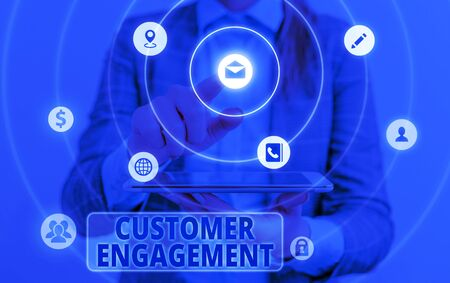 Conceptual hand writing showing Customer Engagement. Concept meaning the emotional connection between a customer and a brand