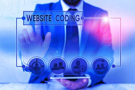 Word writing text Website Coding. Business photo showcasing system of symbols and rules used to represent instructions