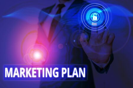 Conceptual hand writing showing Marketing Plan. Concept meaning operational document that outlines an advertising strategy Banco de Imagens