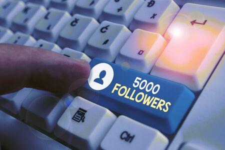 Handwriting text writing 5000 Followers.