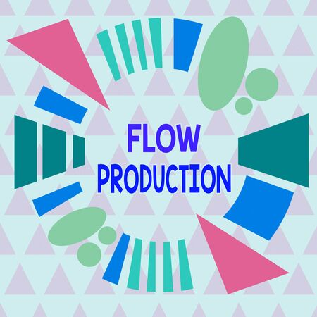 Text sign showing Flow Production. Business photo text items are produced from one processing step to the next one Asymmetrical uneven shaped format pattern object outline multicolour design Stock Photo