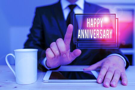 Text sign showing Happy Anniversary. Business photo text The annually recurring date of a past event celebration Male human wear formal clothes present presentation use hi tech smartphone