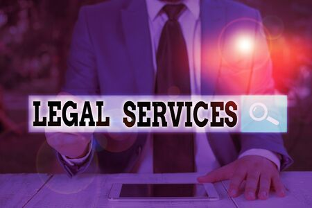 Text sign showing Legal Services. Business photo text any services involving legal or law related matters