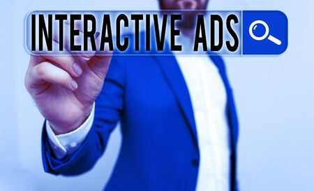 Handwriting text writing Interactive Ads. Conceptual photo uses interactive media to communicate with consumers