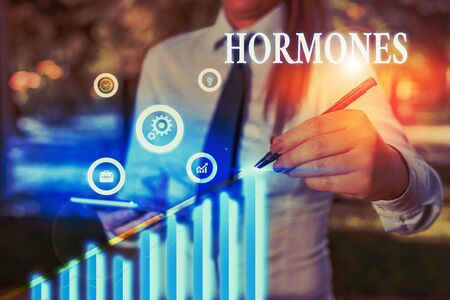 Word writing text Hormones. Business photo showcasing regulatory substance produced in organism transported tissue fluids