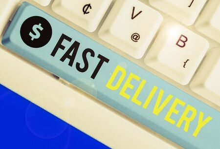 Conceptual hand writing showing Fast Delivery. Concept meaning Express action of delivering letters, parcels, or good