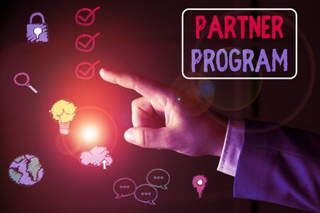 Conceptual hand writing showing Partner Program. Concept meaning business strategy vendors use to sell products and services