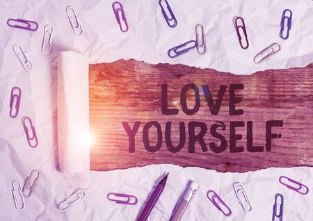 Word writing text Love Yourself. Business photo showcasing have selfrespect and the unconditional selfacceptance Stock Photo