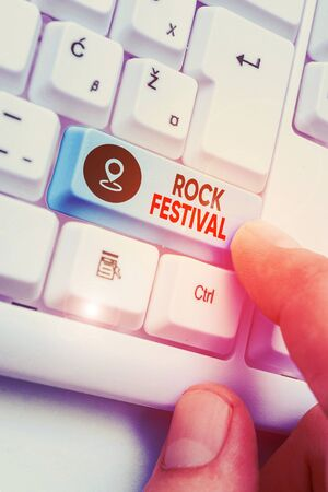 Handwriting text Rock Festival. Conceptual photo Largescale rock music concert featuring heavy metals genre 版權商用圖片