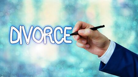 Writing note showing Divorce. Business concept for Legal dissolution of marriage Separation Breakup Disagreement
