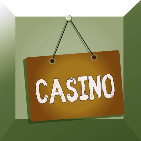 Conceptual hand writing showing Casino. Concept meaning a building where games especially roulette and card games are played Memo reminder empty board attached background rectangle