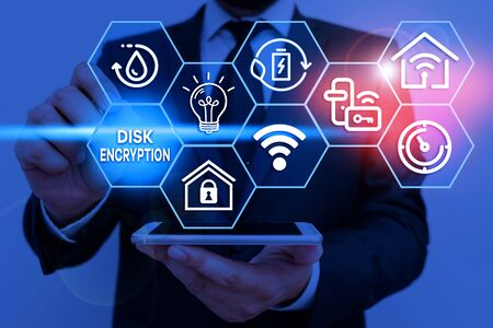 Writing note showing Disk Encryption. Business concept for the security mechanism used to protect data at rest