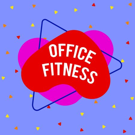 Writing note showing Office Fitness. Business concept for Encouraging fitness and balance lifestyle in the workplace Asymmetrical format pattern object outline multicolor design