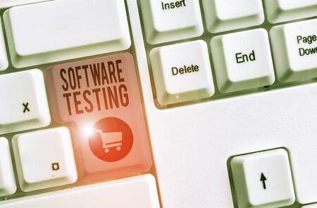Word writing text Software Testing. Business photo showcasing evaluate the functionality of a software application 版權商用圖片