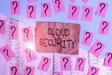 Word writing text Cloud Security. Business photo showcasing protection of data stored online from theft and deletion Scribbled and crumbling papers with thick cardboard above wooden table