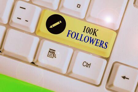 Word writing text 100K Followers. Stock Photo