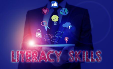 Conceptual hand writing showing Literacy Skills. Concept meaning all knowledge and skills need to evaluate information Standard-Bild