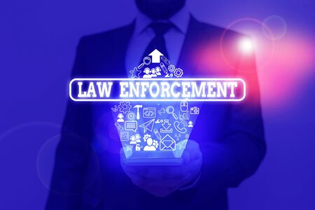 Handwriting text writing Law Enforcement. Conceptual photo activity of making certain that the laws of an area are obey