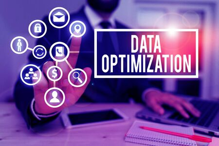 Writing note showing Data Optimization. Business concept for process that prepares the logical schema from data view