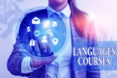 Text sign showing Languages Courses. Business photo showcasing set of classes or a plan of study on a foreign language