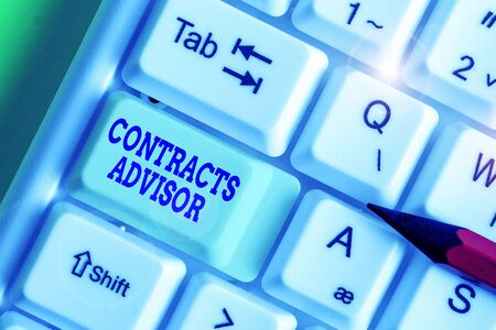 Text sign showing Contracts Advisor. Business photo showcasing ensure the enforcement of defined procurement policies