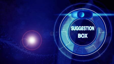 Conceptual hand writing showing Suggestion Box. Concept meaning container which showing can leave comments about something