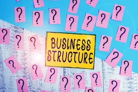 Word writing text Business Structure. Business photo showcasing Organization framework that is legally recognized Scribbled and crumbling papers with thick cardboard above wooden table Banco de Imagens