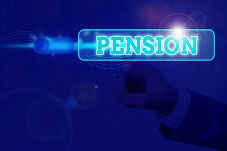 Handwriting text Pension. Conceptual photo Income seniors earn after retirement Saves for elderly years