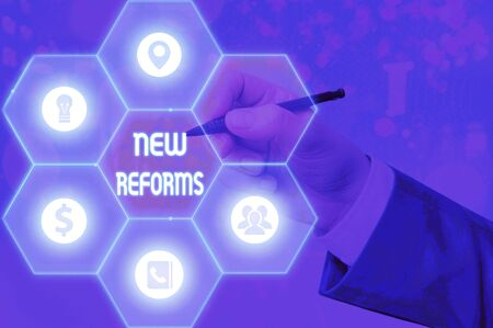 Writing note showing New Reforms. Business concept for to amend or improve by change of form or removal of faults