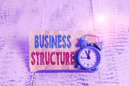 Word writing text Business Structure. Business photo showcasing Organization framework that is legally recognized Mini blue alarm clock stand tilted above buffer wire in front of notepaper Banco de Imagens