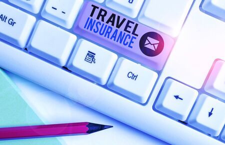 Writing note showing Travel Insurance. Business concept for covers the costs and losses associated with traveling Banque d'images