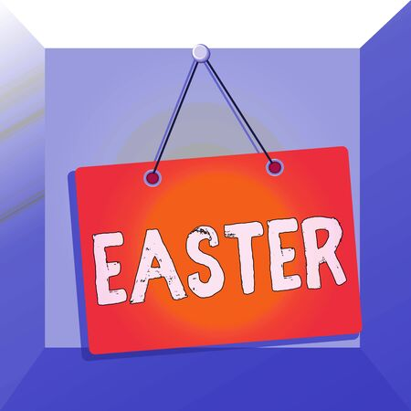 Conceptual hand writing showing Easter. Concept meaning the most important and oldest festival of the Christian Church Memo reminder empty board attached background rectangle