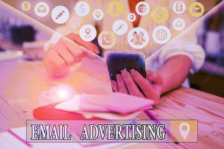 Text sign showing Email Advertising. Business photo text act of sending a commercial message to target market