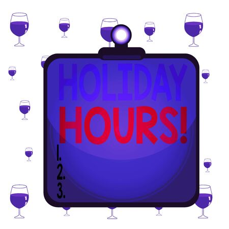 Text sign showing Holiday Hours. Business photo text Overtime work on for employees under flexible work schedules Clipboard colorful background spring clip stuck bind empty plank frame Stock Photo